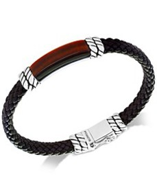 EFFY® Men's Tiger's Eye Brown Leather Bracelet in