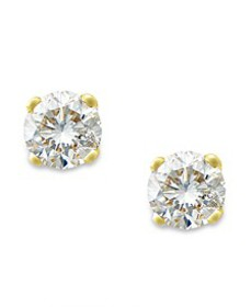 Round-Cut Diamond Stud Earrings in 10k Yellow or W