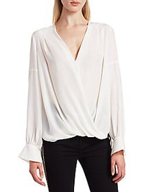 7 For All Mankind Cross Front Drape Silk-Blend Top