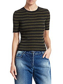 Michael Kors Striped Lurex Rib-Knit Cropped Tee SP