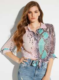Clouis Sheer Printed Blouse