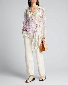 Camilla Printed Silk Wrap Blouse with Yoke