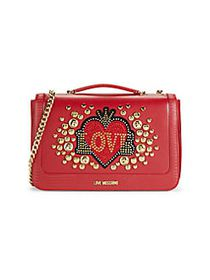 Love Moschino Love Embellished Chain Crossbody RED