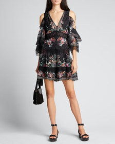 Camilla Button-Up Cold-Shoulder Dress with Lace In