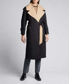 Ganni Two-Tone Cotton Belted Trench Coat