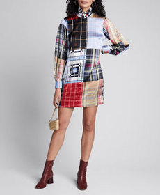 Ganni Stretch Satin Patchwork Plaid Shirt Dress