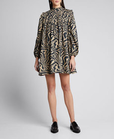 Ganni Printed Poplin Long-Sleeve Pintuck Dress
