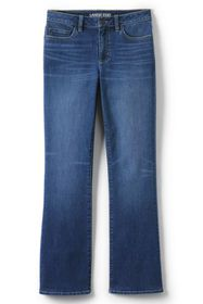 Lands End Women's Mid Rise Bootcut Blue Jeans