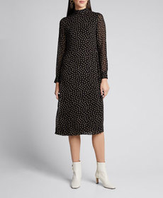 Ganni Dot-Print Georgette Long-Sleeve Midi Dress