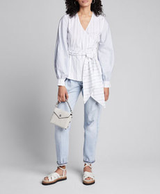 Ganni Striped Shirting Long-Sleeve Wrap Blouse