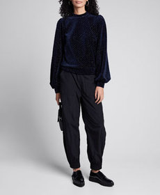 Ganni Velvet Metallic Blouson-Sleeve Sweater