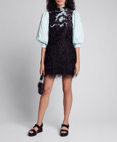 Ganni Puff-Sleeve Poplin Dress w/ Feathery Mesh Ov