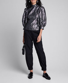 Ganni High-Neck Metallic Jacquard Puff-Sleeve Top
