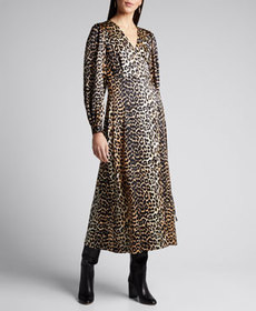 Ganni Stretch Satin Leopard-Print Wrap Dress