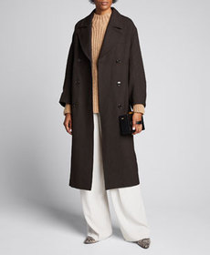 Ganni Double-Breasted Check Long Coat