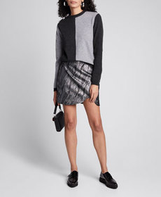 Ganni Two-Tone Cashmere Pullover Sweater