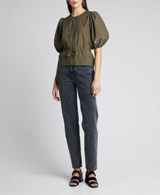 Ganni Seersucker Check Puff-Sleeve Blouse