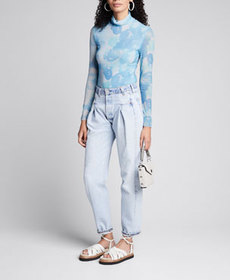 Ganni Printed Mesh Turtleneck Top