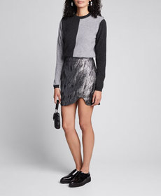 Ganni Metallic Jacquard Asymmetrical Skirt