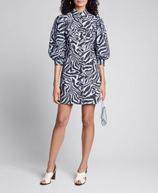 Ganni Printed Poplin Puff-Sleeve Shirt Dress