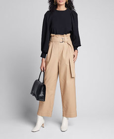 Ganni Belted Paperbag Chino Pants