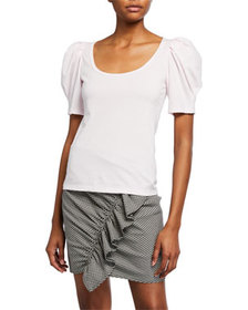 A.L.C. Rumi Scoop-Neck Puff-Sleeve Tee