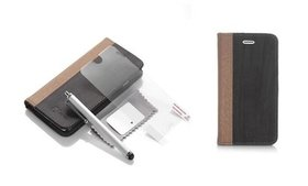 Ultra Slim Leather Wood Grain Case Cover Wallet St