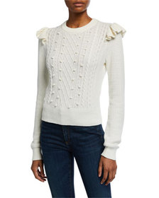 Veronica Beard Earl Crewneck Cable Sweater