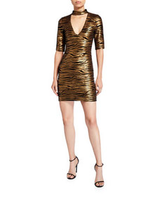 Alice + Olivia Inka Golden-Striped V-Neck Dress