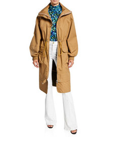 Ganni Double-Layer Cotton Parka Jacket