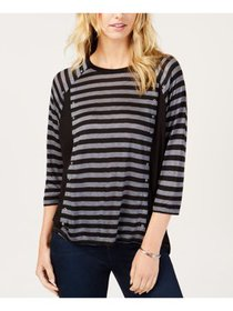 MICHAEL KORS Womens Black Embellished Striped 3/4