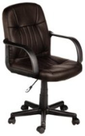 Comfort - Leather Mid-Back Chair - Chocolate Brown