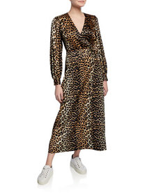Ganni Leopard-Print Surplice Long-Sleeve Stretch-S
