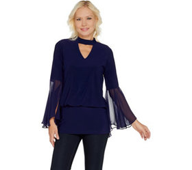 """""""As Is"""" Laurie Felt Knit Top with Woven Bell Sleev"""