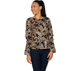 """""""As Is"""" G.I.L.I. Long Sleeve Woven Top with Bell S"""