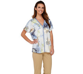 """""""As Is"""" H by Halston Printed V-neck Dolman Sleeve"""