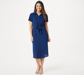 """""""As Is"""" Du Jour Button Front Shirt Midi Dress with"""