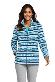 Lands End Women's Tall Print Full Zip Fleece Jacke