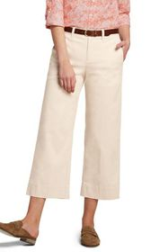 Lands End Women's Mid Rise Chino Wide Leg Crop Pan