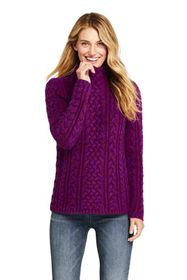 Lands End Women's Cotton Blend Mock Neck Aran Cabl
