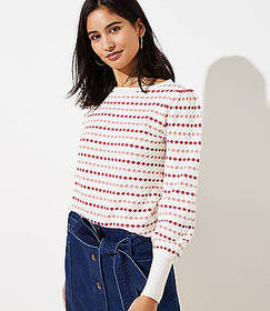 Petite Stripe Textured Sweater