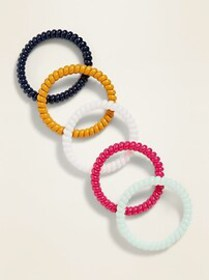 Skinny Beaded Spiral Hair Ties 5-Pack for Women
