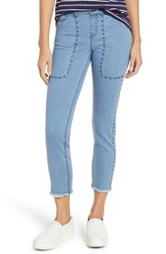 Zeza B High Waist Studded Denim Raw Hem Skimmer Le