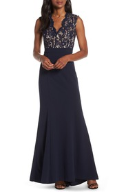 Eliza J Lace Bodice Trumpet Evening Dress