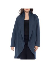 Bobeau Womens Plus Quilted Long Sleeves Shawl-Coll