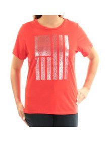 TOMMY HILFIGER Womens Red Printed Short Sleeve Jew