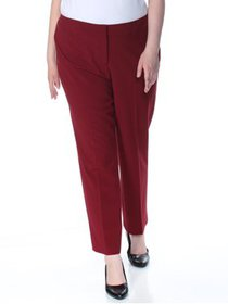 NINE WEST Womens Maroon Stretch Straight leg Wear
