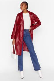 Nasty Gal Red Forever and Faux Leather Belted Tren