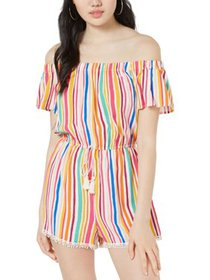 Be Bop Womens Juniors Off-The-Shoulder Striped Rom