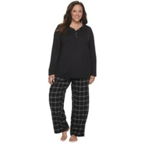 Plus Size Croft & Barrow® Knit and Flannel Henley
